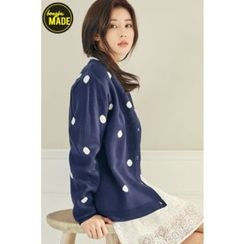 BONGJA SHOP - Polka Dot Round-Neck Cardigan