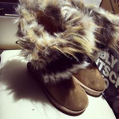 Zandy Shoes - Furry-Trim Short Snow Boots