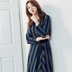 MAGJAY - Round-Neck Striped Dress with Belt