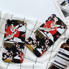 Homap - iPhone 7 / 7 Plus / 6s / 6s Plus - 樱花仙鹤印花手机保护壳