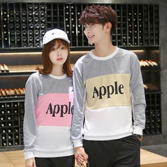 Lovebirds - Couple Matching Lettering Panel Pullover