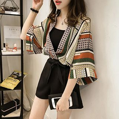 Little V - Set: Patterned Chiffon Jacket + Bandeau + Shorts