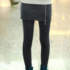 Hyoty - Inset Zip Skirt Leggings