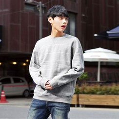 TOMONARI - Stripe Brushed-Fleece Lined Sweatshirt