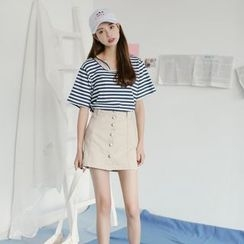 SUYISODA - Set: Stripe Short-Sleeve T-Shirt + Buttoned A-Line Skirt