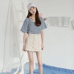 SUYISODA - Set: Stripe Short-Sleeve T-Shirt + Buttoned A-Line Skirt