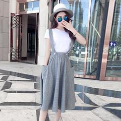 Champi - Striped Suspender Midi Skirt