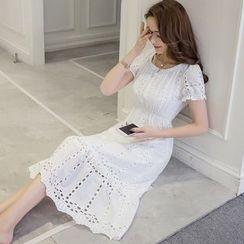 Cherry Dress - Perforated Short Sleeve Midi Dress