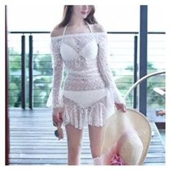 Jumei - Set: Plain Bikini + Lace Cover-Up