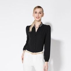 O.SA - Long-Sleeve Embellished Chiffon Blouse