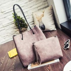 Beloved Bags - 套裝: 仿皮手提袋 + 拉鍊小袋