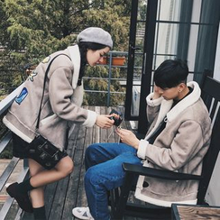 Simpair - Couple Matching Patch Embroidered Duffle Coat