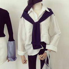 Honeydew - Pinstriped Mock Two-Piece Shirt