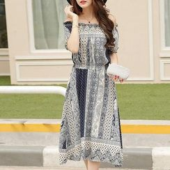 Isadora - Off-shoulder Patterned Chiffon Dress