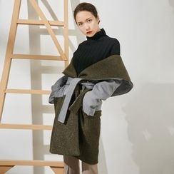 AC - Color-Block Lapel Wool Jacket with Sash