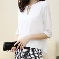 QZ Lady - V-Notch Neckline Chiffon Top