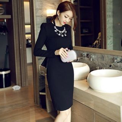 Sherbo - Long-Sleeve Peplum Sheath Dress