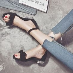 Wello - Bow Faux-Suede Ankle-Strap Flat Sandals