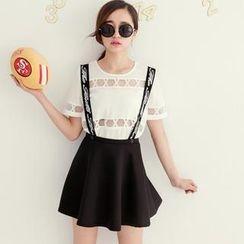 Tokyo Fashion - Printed Suspenders A-Line Skirt