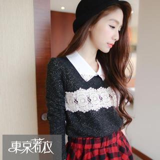 Tokyo Fashion - Crochet Panel Glitter Knit Blouse