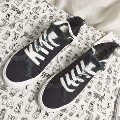 SouthBay Shoes - Fringed Lace Up Sneakers