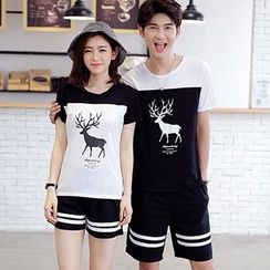 Tabula Rasa - Couple Matching Deer Colour Block T-shirt + Shorts