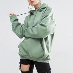 Richcoco - Plain Fleece-lined Hoodie