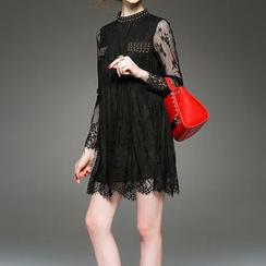 Alaroo - Long-Sleeve Mock Neck Lace Dress