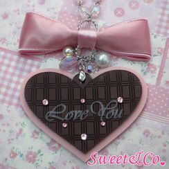 Sweet & Co. - Sweet XL Pink Bow & Heart Choco Bar Swarovski Crystal Long Necklace