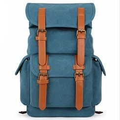 Mr.ace Homme - Faux-Leather Belt Canvas Backpack