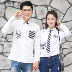 Igsoo - 情侣款印花长袖衬衫