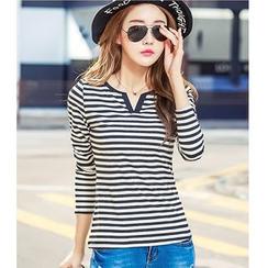 Yinaike - Striped Split Neck Long Sleeve T-Shirt