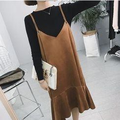 Moon City - Faux Suede Pinafore Dress