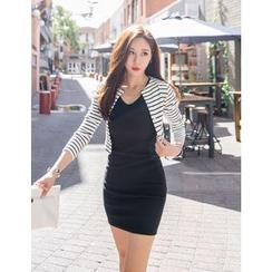 GUMZZI - Set: Open-Front Striped Cardigan + Sleeveless Dress