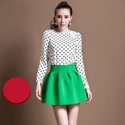 Ozipan - Long-Sleeve Rosette Dotted Top