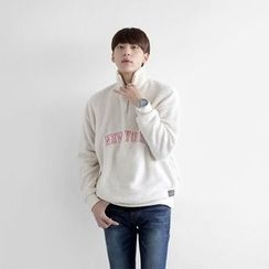 Seoul Homme - High-Neck Lettering Fleece Top