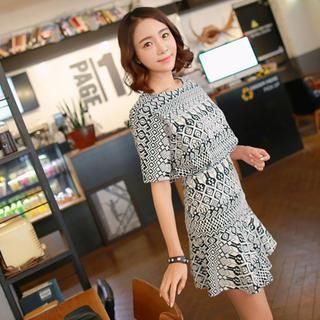 WITH IPUN - Short-Sleeve Patterned Gathered-Waist Dress