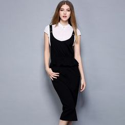 Cherry Dress - Set: Short-Sleeve Top + Plain Strap Dress