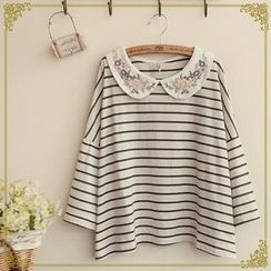 Fairyland - Floral Embroidered Collared Striped Long-Sleeve Top