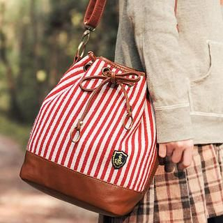 SUPER LOVER - Striped Panel Appliqué Canvas Bucket Bag