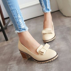 Shoes Galore - Bow Block Heel Loafers