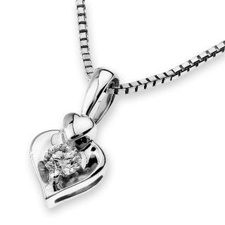 MaBelle - 18K White Gold Diamond Solitaire Double Heart Pendant Necklace (0.11 cttw) (FREE 925 Silver Box Chain, 16')
