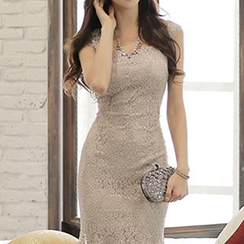 Fashion Street - Sleeveless Lace Frilled Trim Sheath Dress