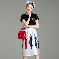 Cherry Dress - Set: Short-Sleeve T-shirt + Printed Skirt