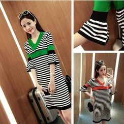 CHIH - Colour Block Stripe V-neck Knit Dress