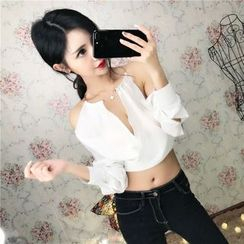 Jolly Club - Long-Sleeve Cutout Lace-Up Blouse