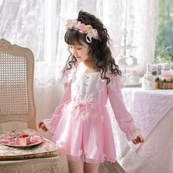 Candy Rain - Kids Flower Accent Long Sleeve Dress