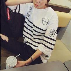 TANGYIZI - Short-Sleeve Striped Printed T-Shirt