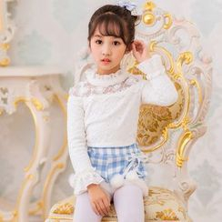 Candy Rain - Kids Lace Trim Long Sleeve Top