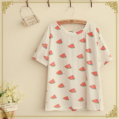 Fairyland - Short-Sleeved Watermelon Print T-Shirt